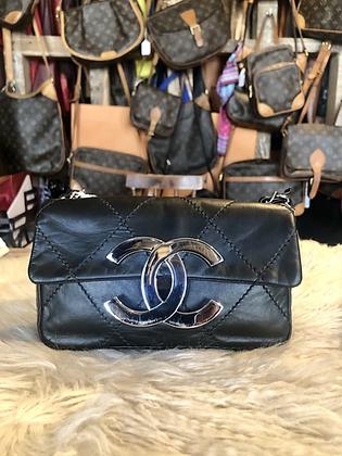 Chanel Diamond Stitched CC East West Flap Black