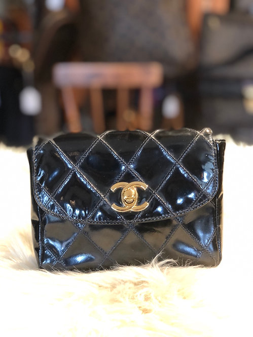 Chanel Quilted Patent Leather Belt Bag