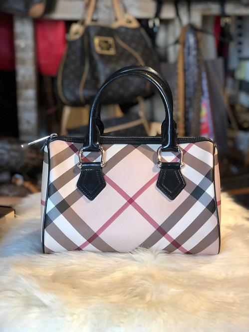 Burberry Leather-Trim Nova Check Handle Bag
