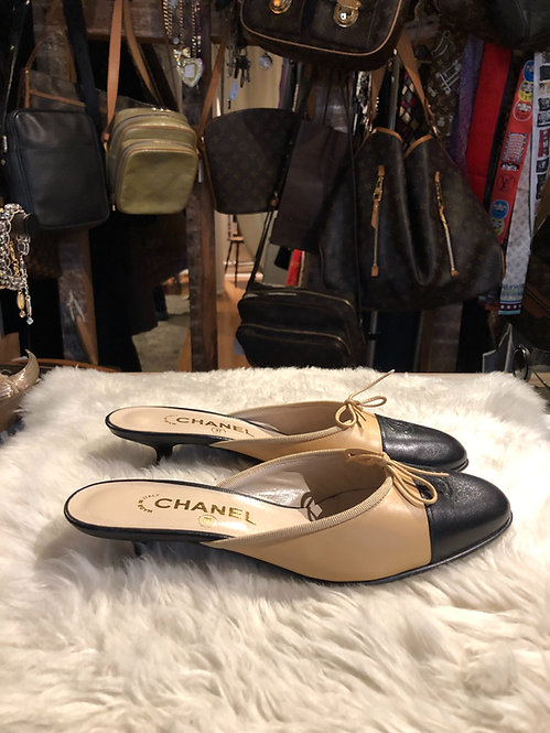 Chanel CC Cap-Toe Mules