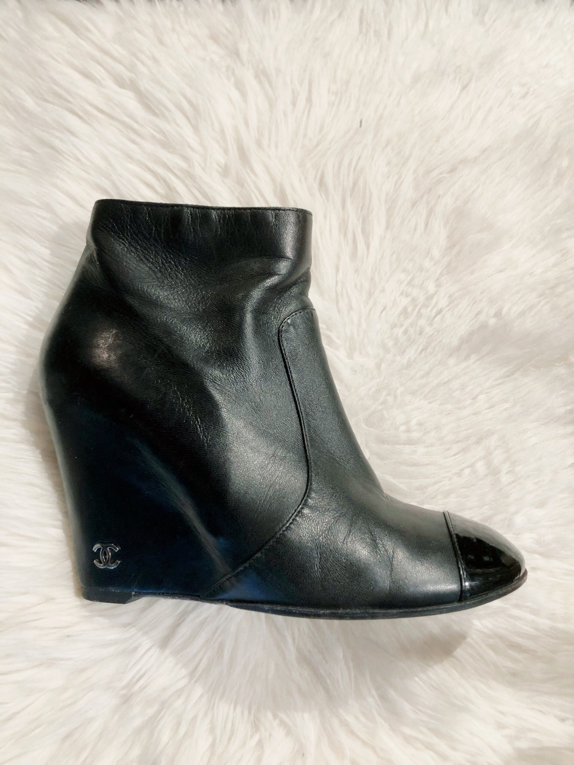 Thumbnail: Chanel CC Cap-Toe Wedge Booties