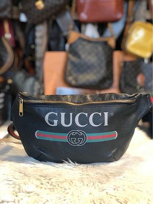 Gucci Leather Logo Print Belt Bag