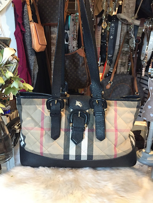 BURBERRY LEATHER-TRIMMED HOUSE CHECK BAG