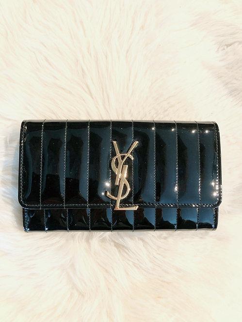 Yves St Laurent Vicky Large Matelassé Patent Leather Flap Wallet