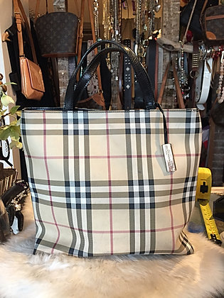 Burberry London Leather-Trimmed Nova Check Bag