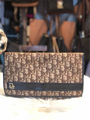 Christian Dior Leather Trimmed Diorissimo Flap Clutch