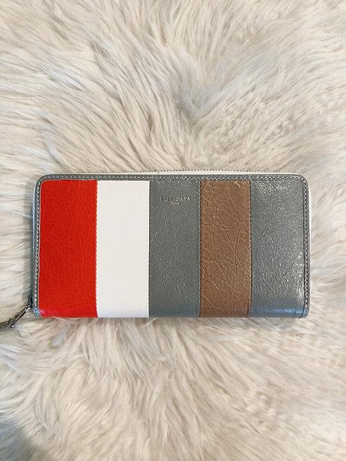 Balenciaga Striped Bazar Continental Wallet