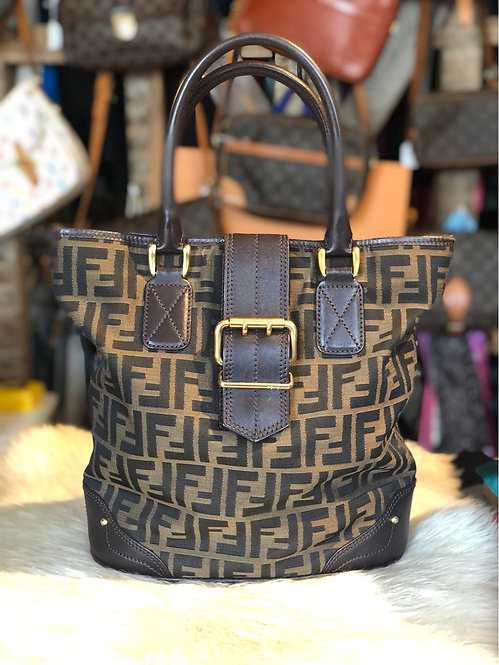 Fendi Zucca Leather Trimmed Handbag