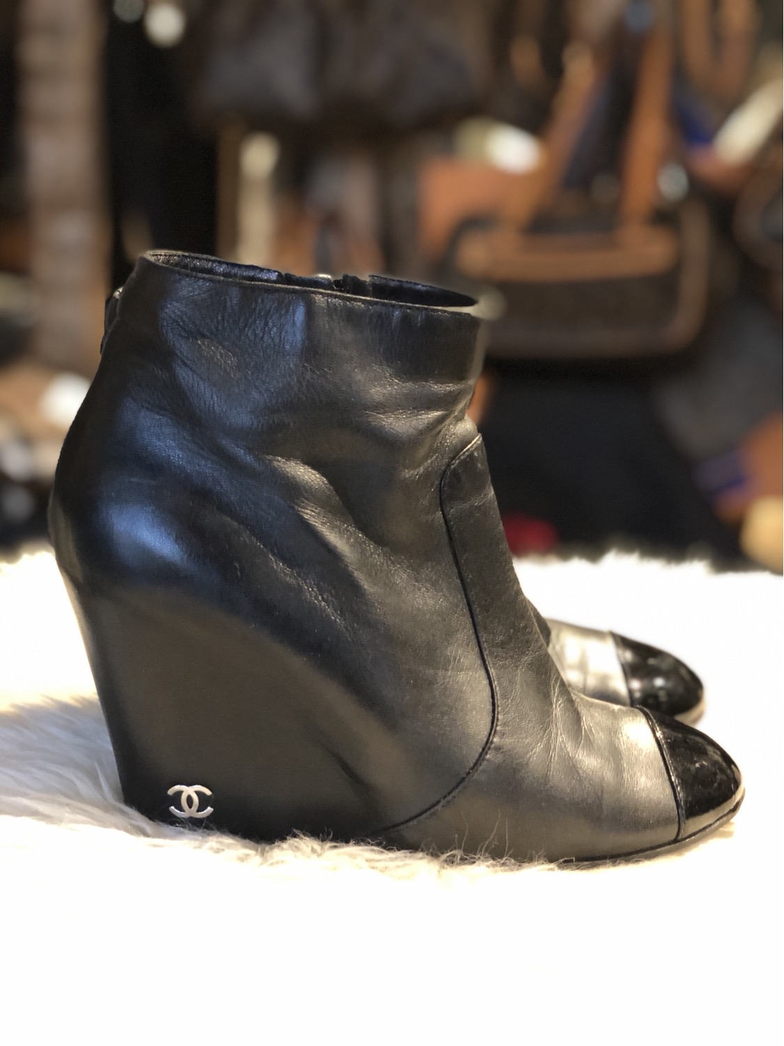 Chanel CC Cap-Toe Wedge Booties