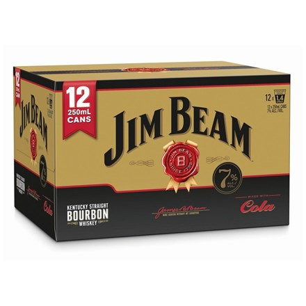 JIM BEAM GOLD 7% 12PK 250 ML CANS