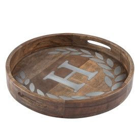 "WOOD/METAL 20"" ROUND TRAY ""H"""