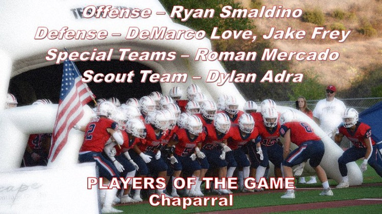 Week 2 Tesoro Players of the Game - Chaparral