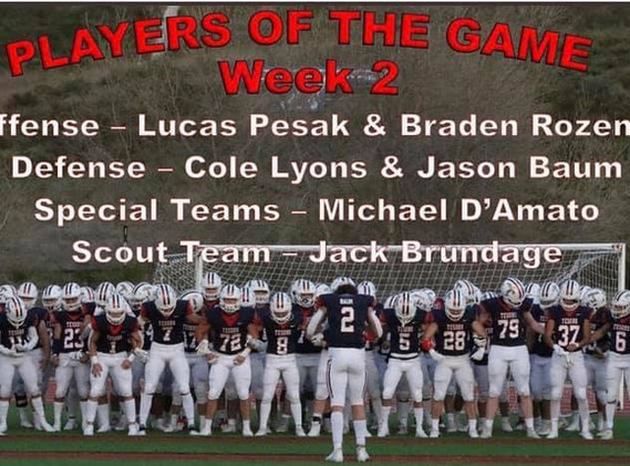 Week 2 Players of the game