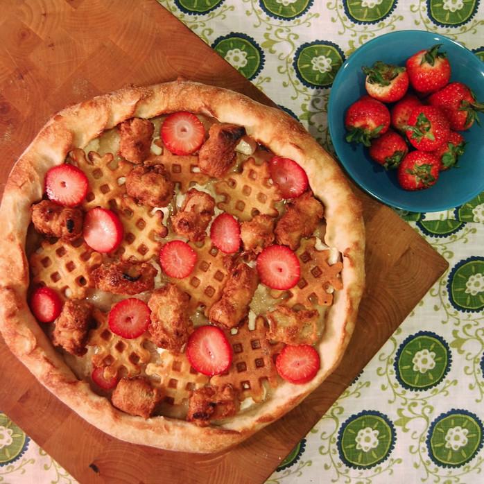 Vegetarian Chicken & Waffles Pizza