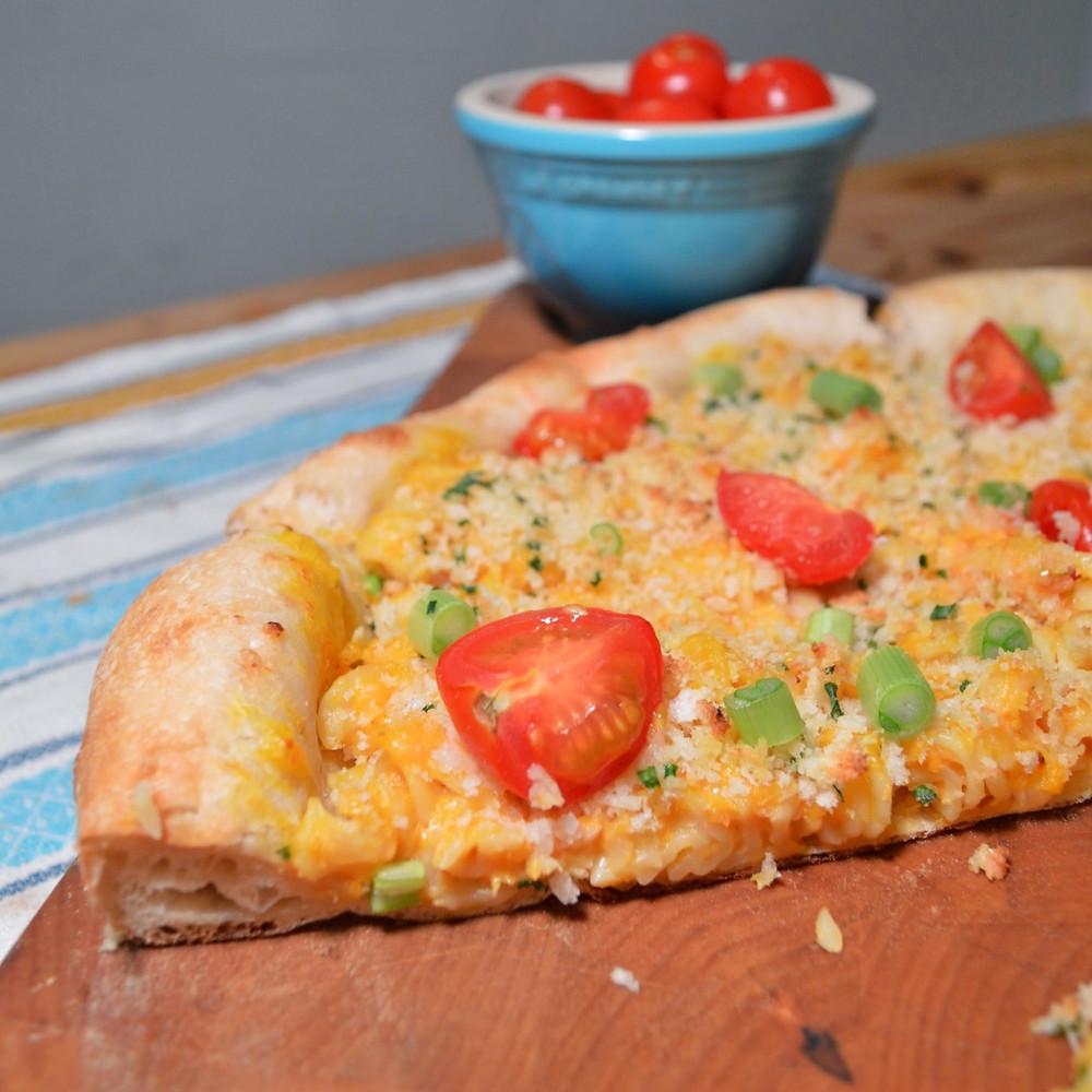 Pumpkin mac & cheese pizza