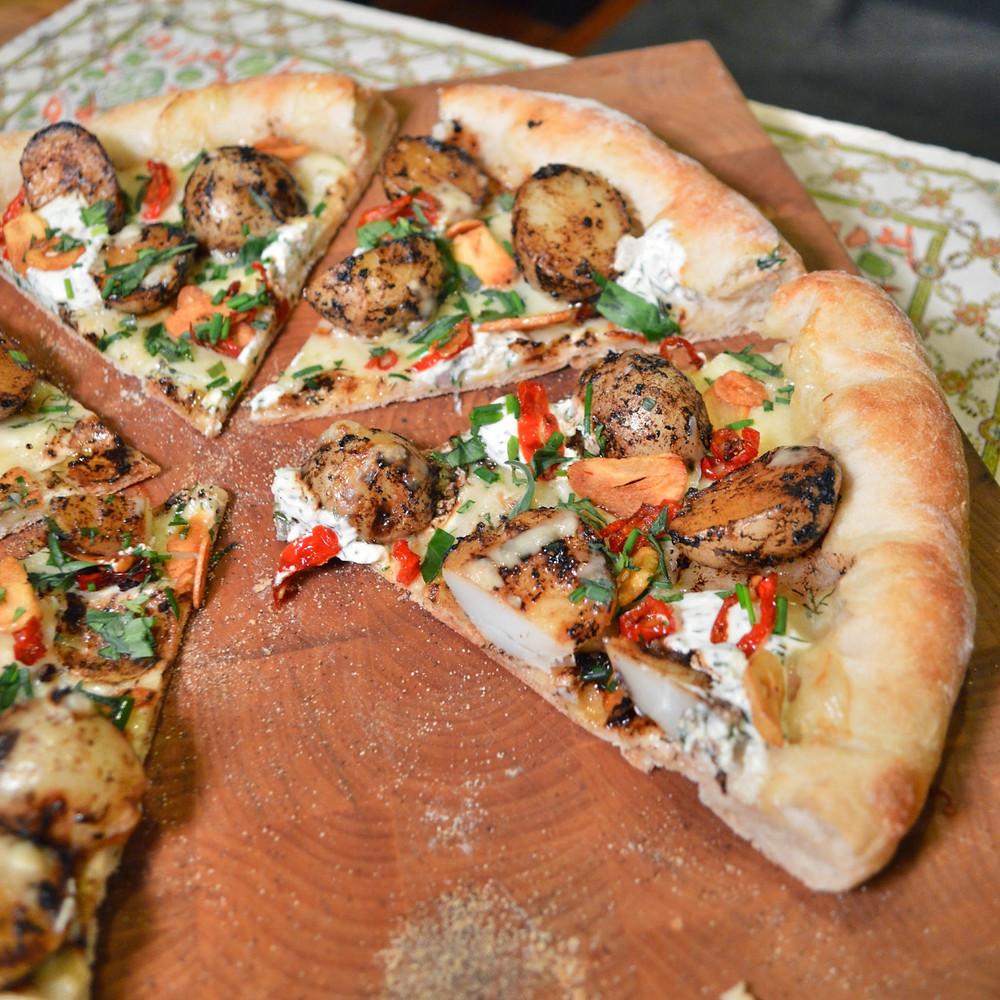 Black garlic & grilled potato pizza