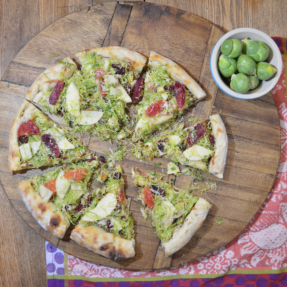 Brussels Sprout, Apple & Blood Orange Pizza