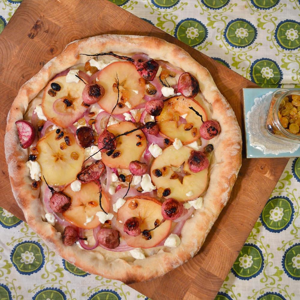 Baked apple ring & maple-cinnamon turnip pizza
