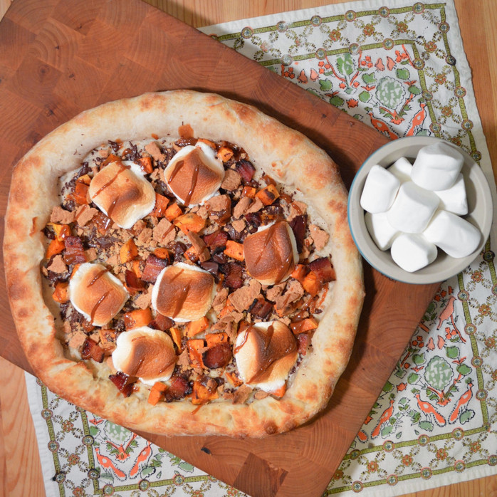 Salted Caramel S'mores Pizza