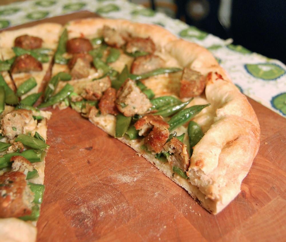 """Roasted sugar snap peas & eggplant """"meatball"""" pizza"""