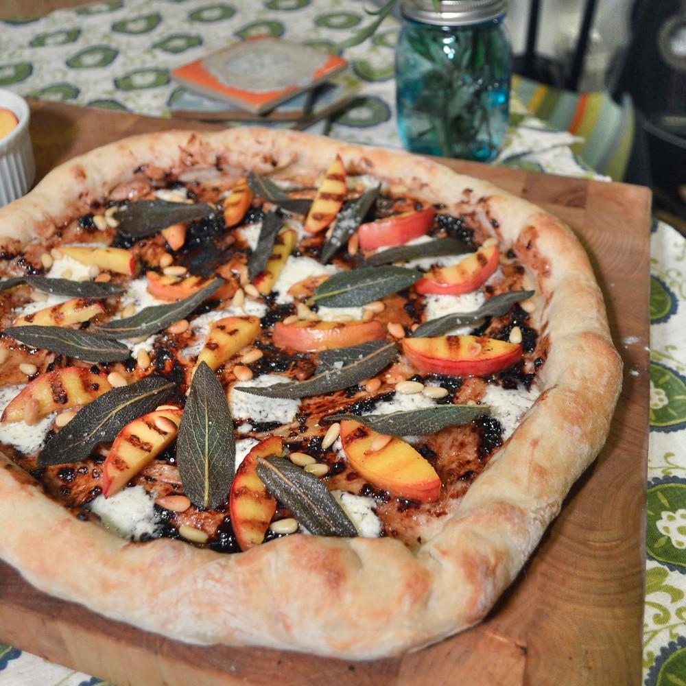 Grilled nectarine & sage pizza