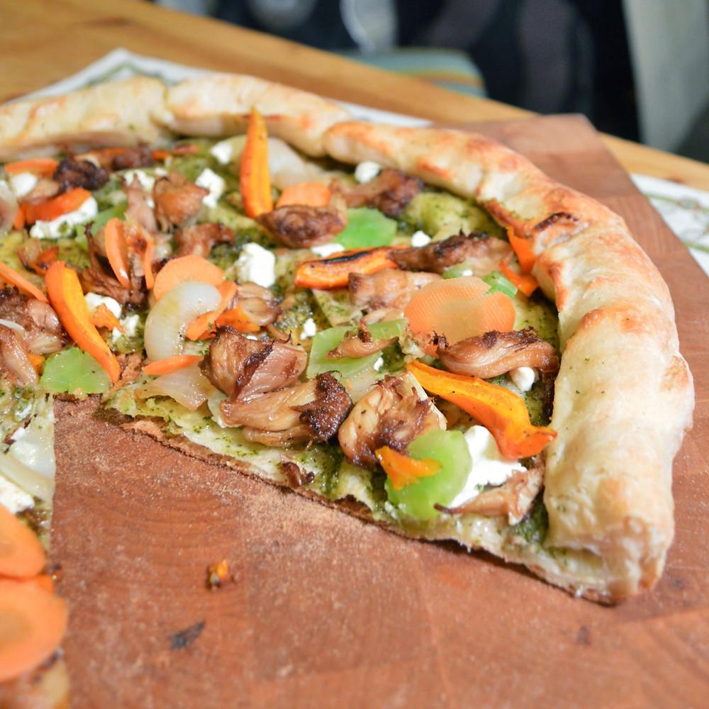 Lion's mane, carrot & celtuce pizza