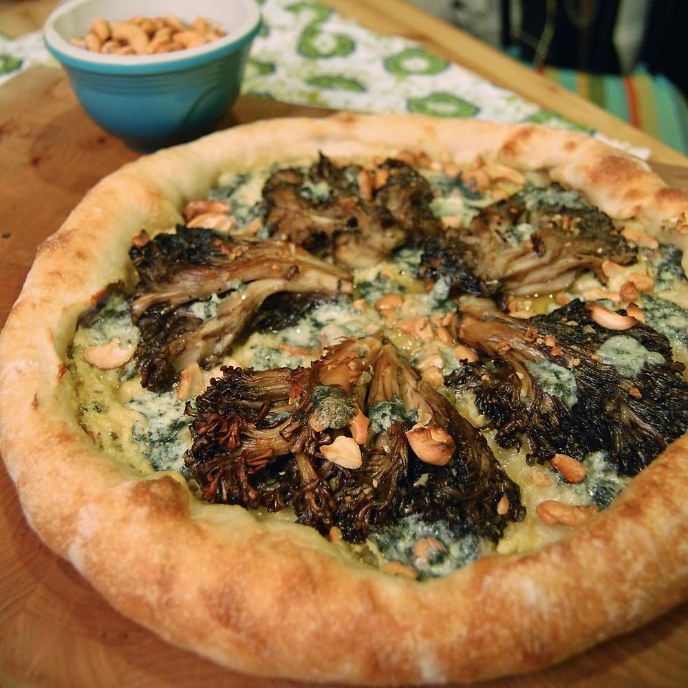 Maitake & kimchi mayo pizza