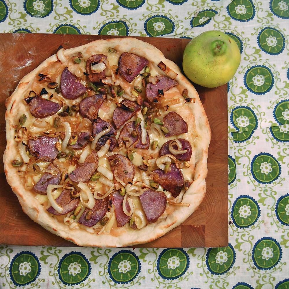 Quince, pistachio & purple potato pizza