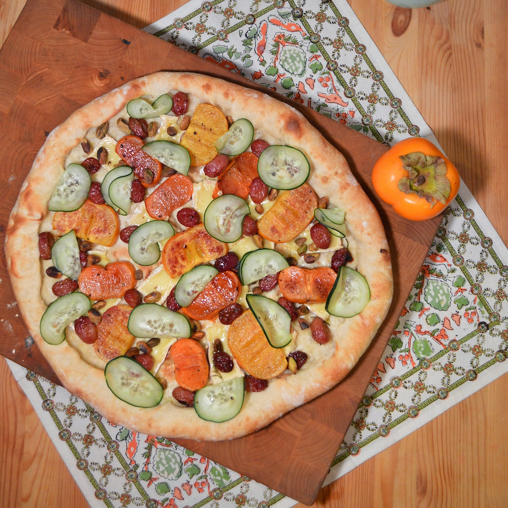 Roasted persimmon & balsamic grape pizza