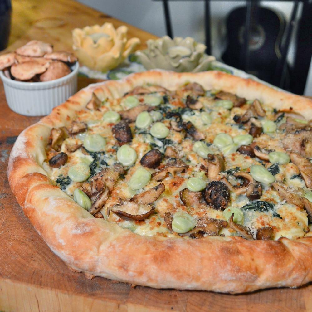 Bok choy, fava bean & mushroom pizza