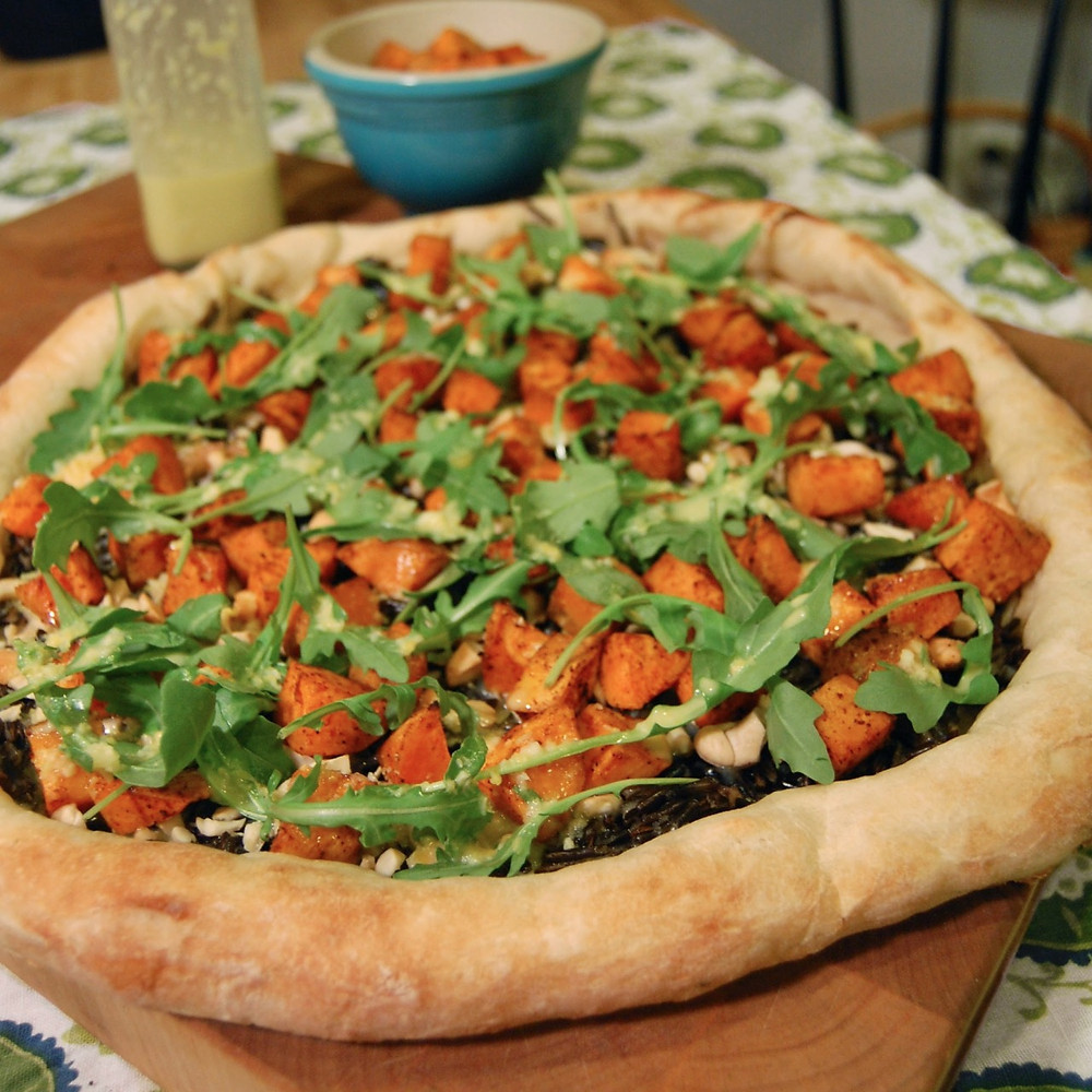 Wild rice, sweet potato & lemon-agave pizza
