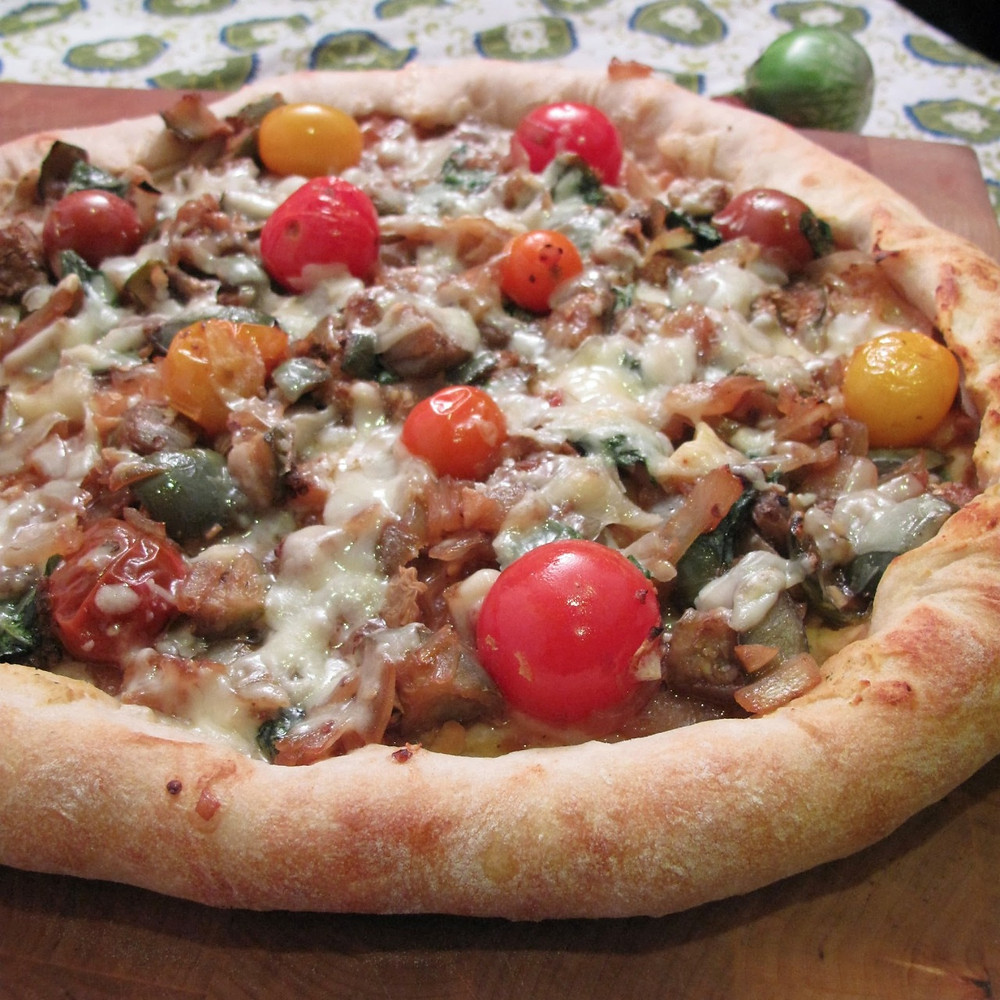 Hummus & Thai eggplant stir fry pizza