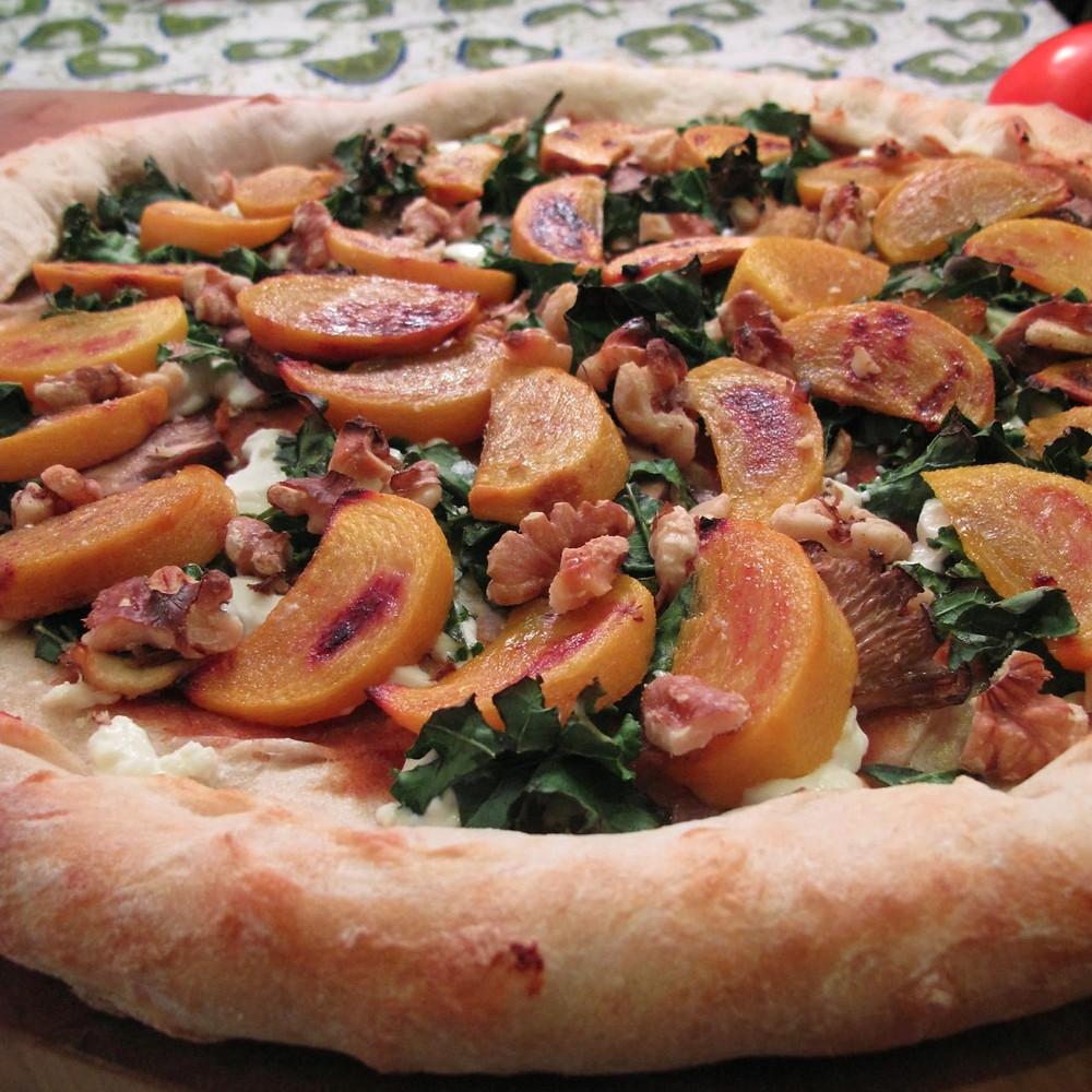 Medlar & roasted persimmon pizza