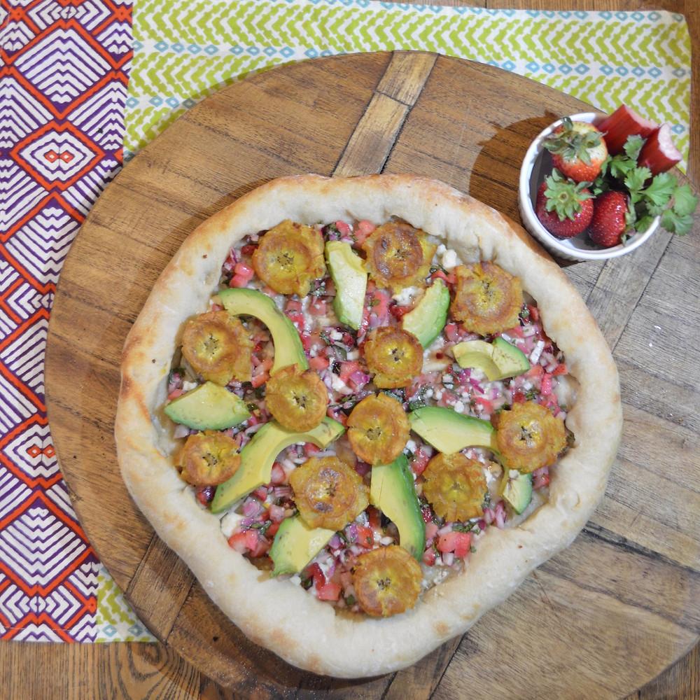 Tostones & Strawberry-Rhubarb Salsa Pizza