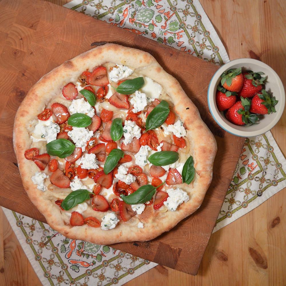 Strawberry, Tomato & Basil Pizza