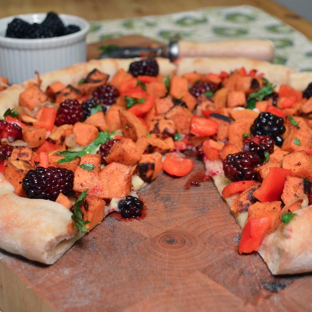 Blackberry, sweet potato & brie pizza