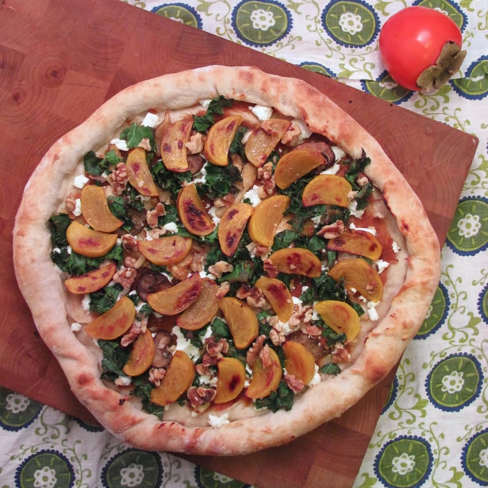 Medlar & roasted persimmon pizza
