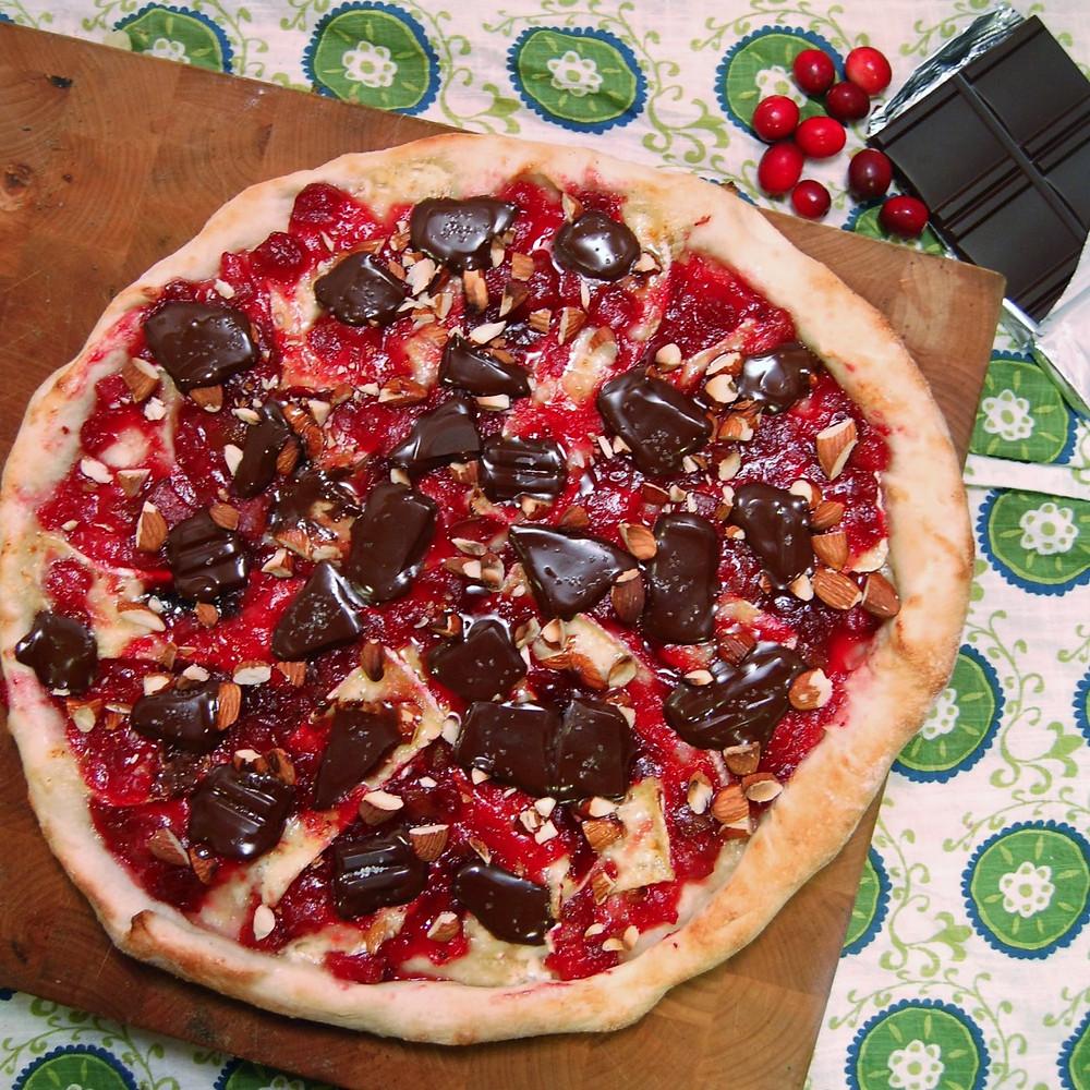 Cranberry & Brie dessert pizza