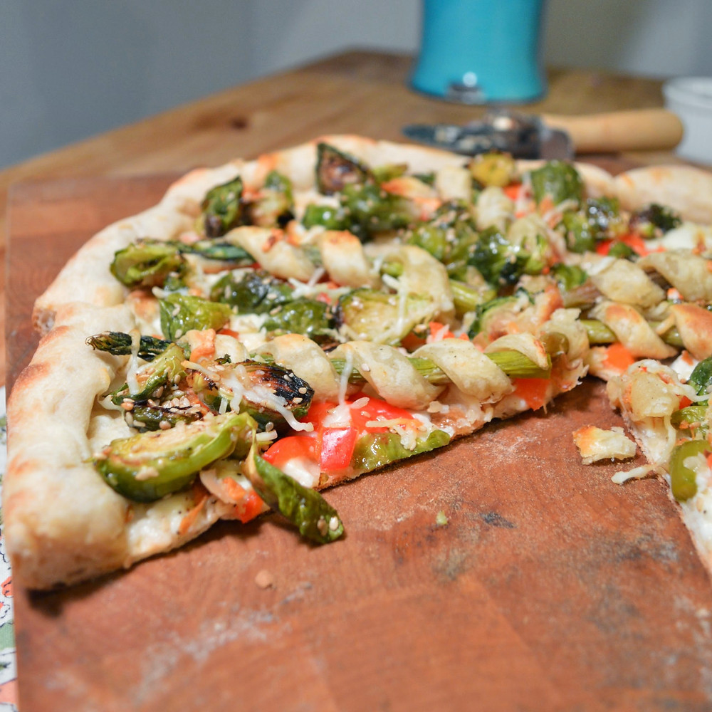 Brussels sprout & asparagus pastry straw pizza