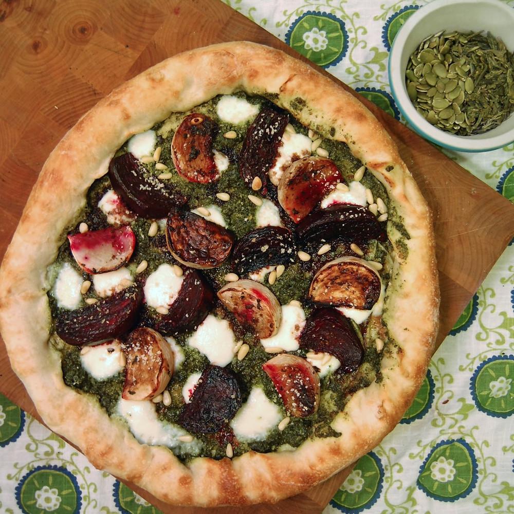 Green tea pesto & roasted root vegetable pizza