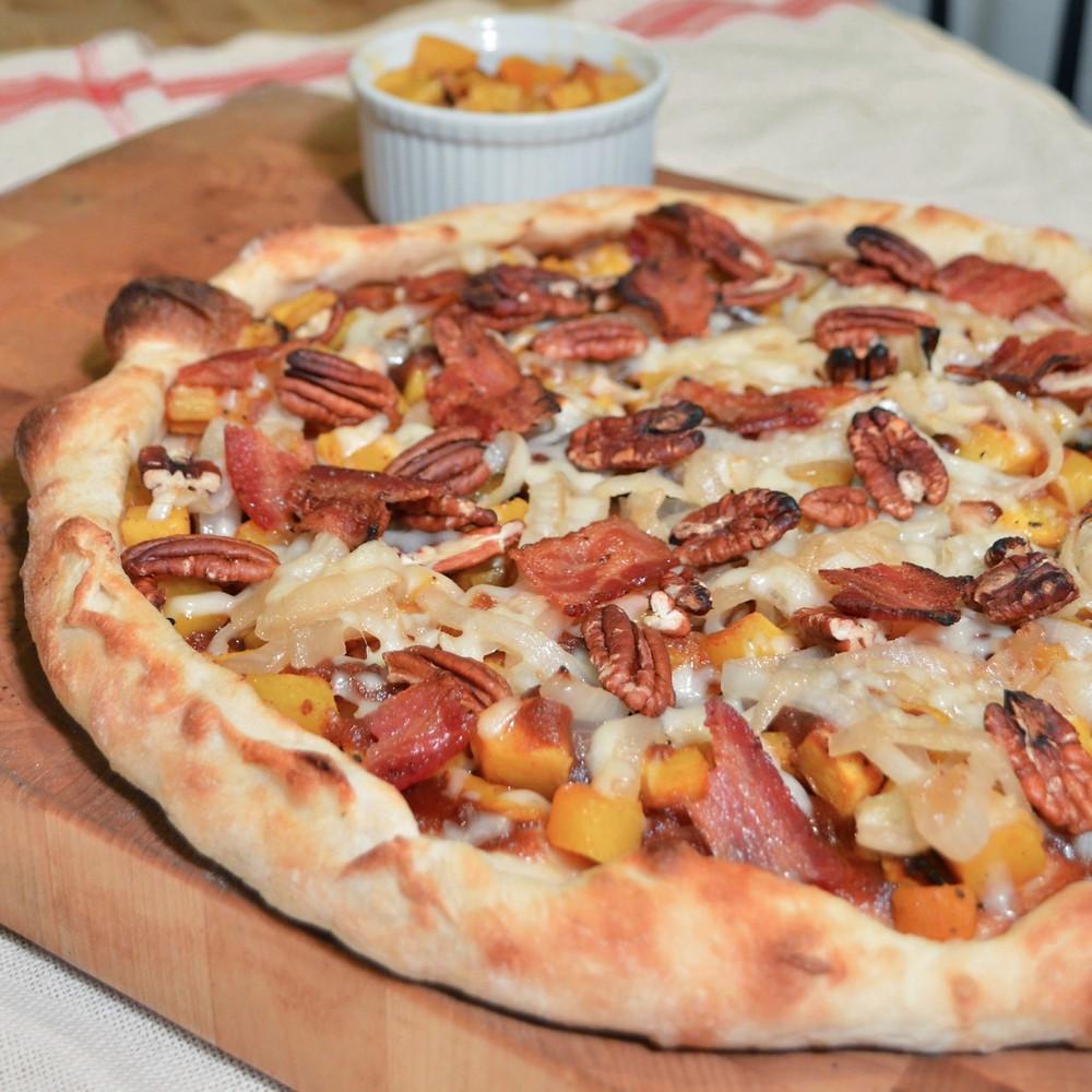 Apple butter, butternut squash & bacon pizza