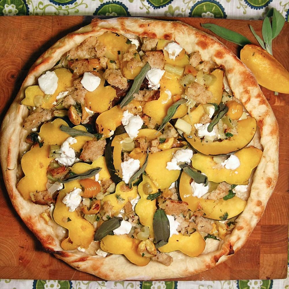 Acorn squash & chestnut pizza