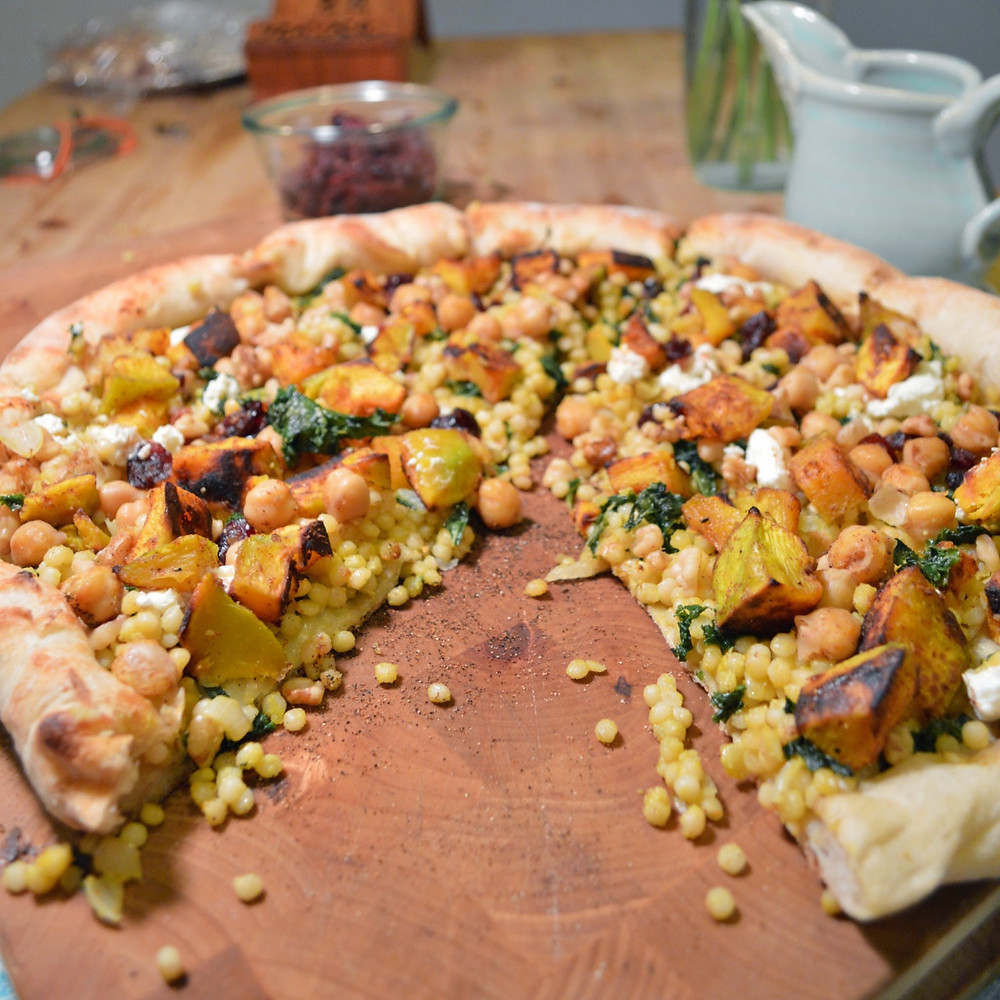 Israeli couscous & kabocha squash pizza