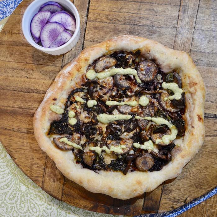 Mushroom & Daikon Stir Fry Pizza