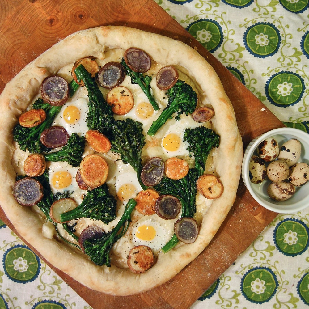 Broccolini, potato & quail egg pizza