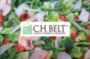 C.H. Belt logo over frozen vegetable medley