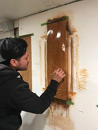student wood graining faux oak in class