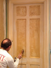 Michael Tust wood graining faux maple on a door the first step