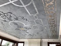 glazed and stencilled living room ceiling in Half Moon Bay