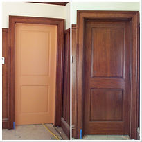 side by side before and after of a door grained cherry wood by Tust Studio